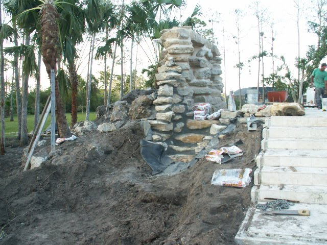 Creative waterfalls completed projects for Pond waterfall construction